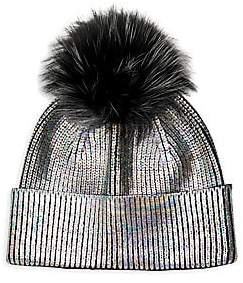 Adrienne Landau Women's Fox Fur Pom-Pom Metallic Knit Hat