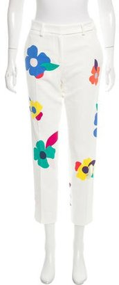 Mira Mikati Floral-Accented Mid-Rise Pants