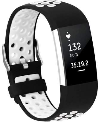 Fitbit Adepoy Soft Silicone Replacement Sport Wrist Bands Strap for Charge 2 (White, Large)