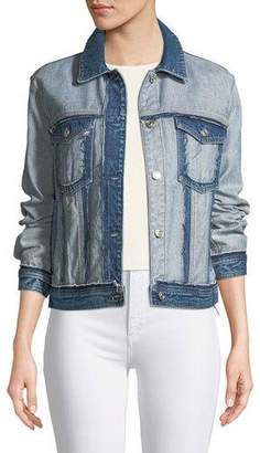 7 For All Mankind Boyfriend Denim Jacket with Destroy