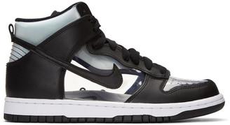 Comme des Garçons Homme Plus Black NikeLab Edition Dunk Hi Retro Invisible High-Top Sneakers $320 thestylecure.com