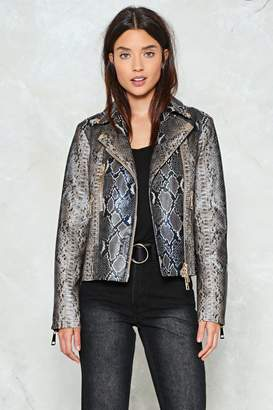 Nasty Gal Wild and Free Snake Moto Jacket