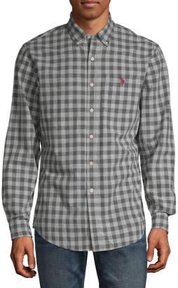 U.S. Polo Assn. USPA Mens Long Sleeve Checked Button-Front Shirt