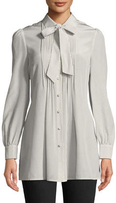 Co Tie-Neck Long-Sleeve Pleated-Bib Silk Tunic Blouse