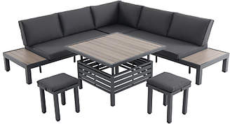 LG Electronics Outdoor Milan 7 Seat Modular Garden Table and Chairs Lounging Set, Anthracite