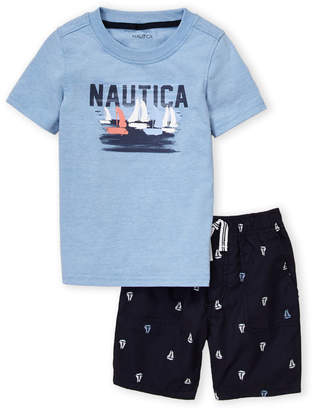 Nautica (Toddler Boys) Two-Piece Short Sleeve Tee & Nautical Swim Trunks