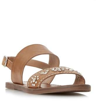 Dune Tan 'W Luma' Slingback Stud And Diamante Flat Sandals