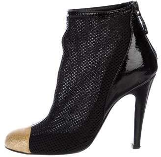 Chanel Mesh Cap-Toe Ankle Boots
