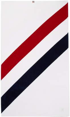 Thom Browne White Diagonal Stripe Beach Towel