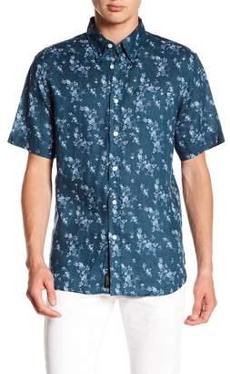 Jachs Print Short Sleeve Classic Fit Linen Shirt