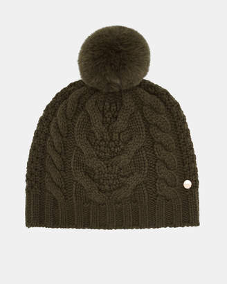 Ted Baker QUIRSA Cable knit wool blend pom pom hat