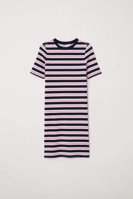 H&M Rib-knit Dress - Blue