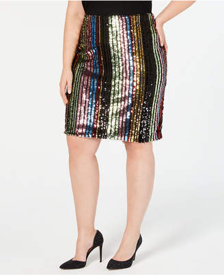 INC International Concepts I.n.c. Plus Size Rainbow-Sequin Pencil Skirt