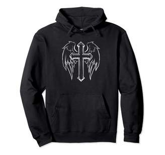 Christian Life Apparel Christian Cross and Angel Wings Religious Gift Pullover Hoodie