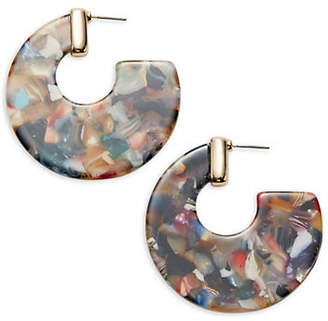 ETEREO Flat Marble Perspex Hoop Earrings