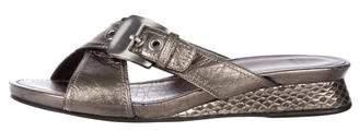 Stuart Weitzman Metallic Leather Peep-Toe Sandals