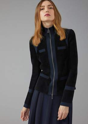 Giorgio Armani Jacket In Bonded Knit Fabric With Inlays