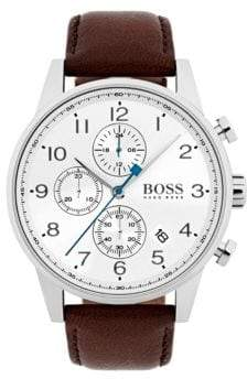 BOSS Navigator White Chronograph Leather Strap Watch