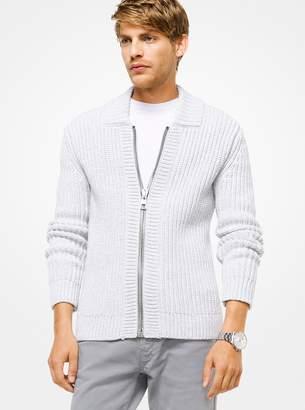 Michael Kors Cotton-Blend Zip-Front Cardigan