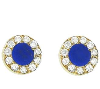Jennifer Meyer Diamond Lapis Inlay Circle Stud Earrings - Yellow Gold