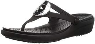 Crocs Women's Sanrah Hammered Met Wedge Flip Sandal