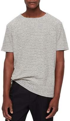 AllSaints Salvano Textured & Striped Crewneck Tee