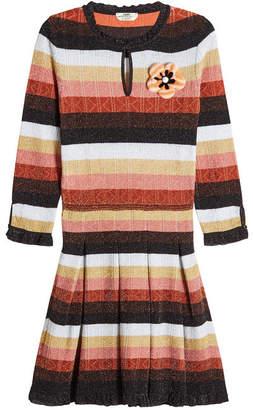 Fendi Metallic Dress with Wool and Fur