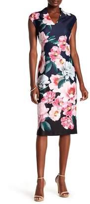 SL Fashions Floral V-Neck Midi Dress