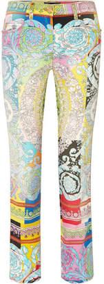 Versace Printed Straight-leg Jeans - Blue
