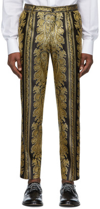 Dolce & Gabbana Black and Gold Jacquard Trousers