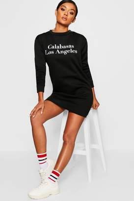 boohoo Calabasas Crew Neck Sweat Dress