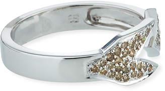 Sydney Evan 14k White Gold Open Arrow Ring with Brown Diamonds, Size 7