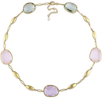 FINE JEWELRY Genuine Amethyst, Genuine Green and Pink Quartz Gold Over Silver Station Necklace