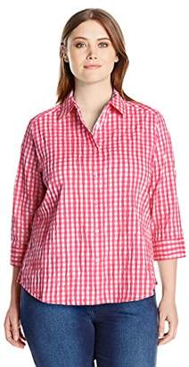 Foxcroft Women's Petite Size 3/4 Sleeve Sue in Crinkle Gingham Shirt