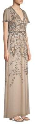 Aidan Mattox Deep-V Beaded Gown