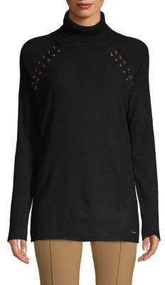 Calvin Klein Lace-Up Turtleneck Sweater