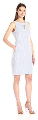 Nine West Women's Sleeveless Shift Dress with Pockets and Cutout Neck Detail