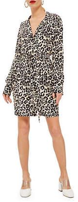 Topshop Animal-Print Pyjama Shirtdress