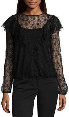 WORTHINGTON Worthington Long Sleeve Lace Ruffle Blouse