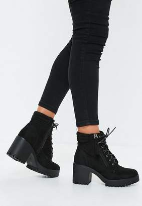 Missguided Black Mid Heel Cleated Hook And Eye Ankle Boots