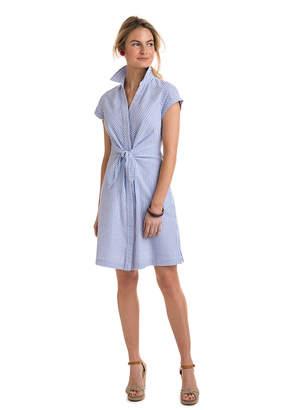 Vineyard Vines Tie Front Seersucker Shirt Dress