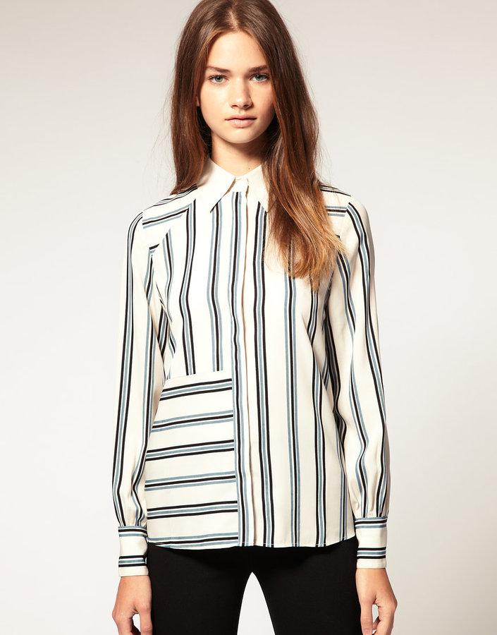 ASOS Stripe Contrast Collar Shirt