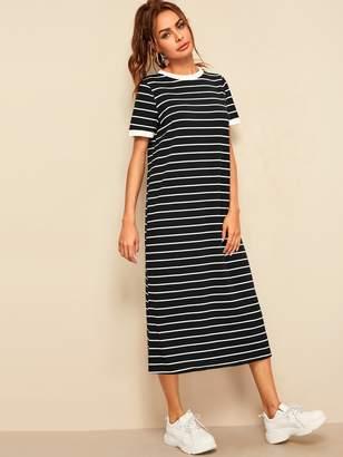Shein Horizontal Striped Tunic Ringer Dress