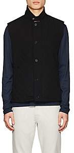 Barneys New York MEN'S DIAMOND-QUILTED TECH VEST-BLACK SIZE M