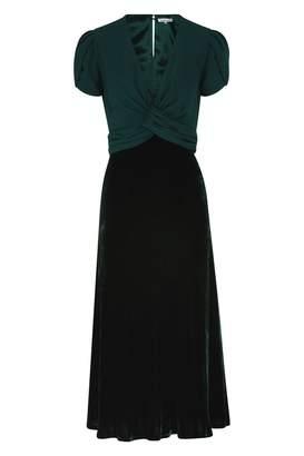 Libelula Millie Dress Georgette & Velvet Bottle Green