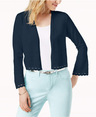 Charter Club Petite Open-Front Geo-Stitch Cardigan, Created for Macy's