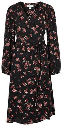 Velvet by Graham & Spencer Black Floral-print Crepe Wrap Dress