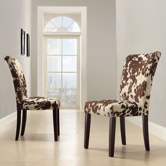 Homevance HomeVance 2-pc. Parson Cowhide Print Side Chair Set