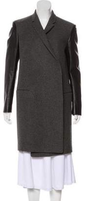 Celine Wool Leather-Paneled Coat