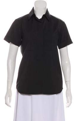 Reed Krakoff Wool Short Sleeve Button-Up Top